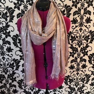 Accessories - Mauvey Pink and silver metallic scarf